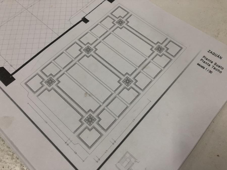 Plano restauración de techo modernista de escayola